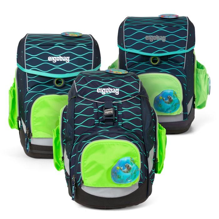 светлоотразяващ комплект с 2 външни джоба в зелено за ученически раници